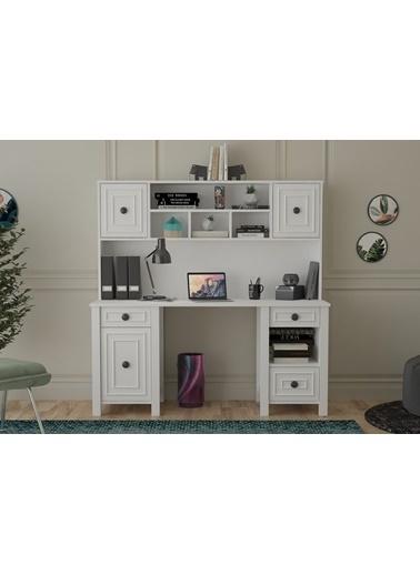 Sanal Mobilya Lizette Kapaklı-Çekmeceli-Raflı-Kitaplıklı 160 Cm Çalışma Masası Mat Beyaz Beyaz